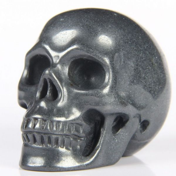 "Hematite Realistic Carved Gemstone Crystal Skull 2"" Inch SK58"